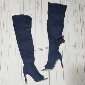 Denim Over-the-Knee Boots